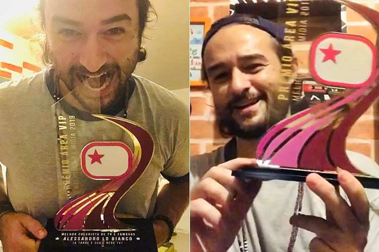 Alessandro Lo-Bianco recebe o troféu Prêmio Área VIP