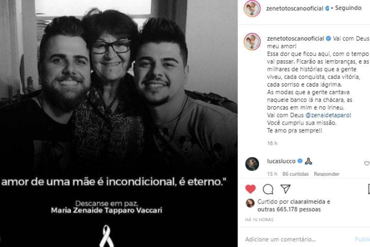 O comentário do cantor sertanejo Lucas Lucco - Reprodução: Instagram