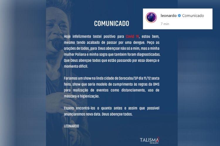 A foto do comunicado que o cantor sertanejo Leonardo compartilhou - Reprodução: Instagram (Captura: Área VIP)