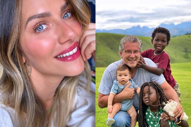 """Zyan, Titi e Bless curtem vovô, pai de Giovanna Ewbank: """"o super herói"""""""