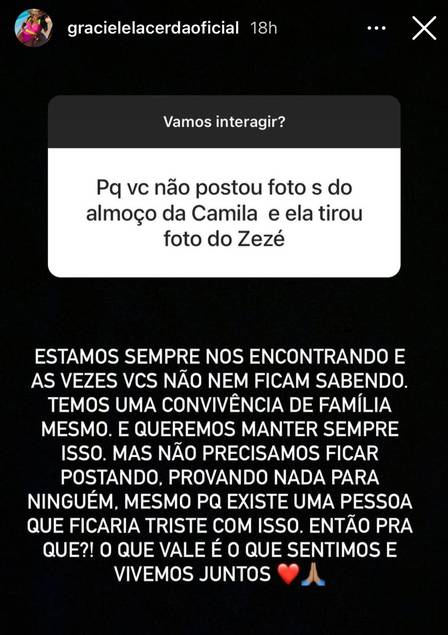 Gracielle Lacerda revela que evita tirar fotos com filhas de Zezé Di Camargo por causa de Zilu Godoi - Foto: Reprodução/ Instagram