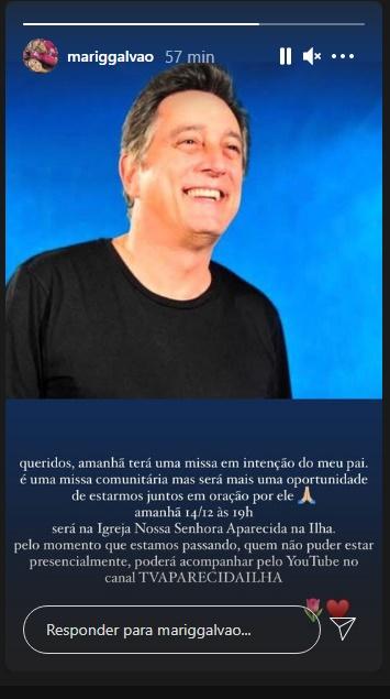 Segundo filha de Eduardo Galvão, ator terá missa de sétimo dia transmitida por live - Foto: Reprodução/Instagram