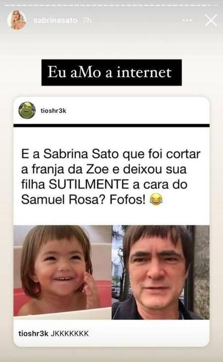 Duda Nagle pede para Sabrina Sato não cortar mais o cabelo de Zoe, entenda o motivo - Foto: Reprodução/Instagram@sabrinasato