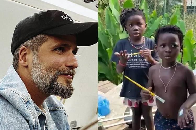 Em vídeo, Bruno Gagliasso encanta a web ao mostrar Titi e Bless pintando casa na árvore