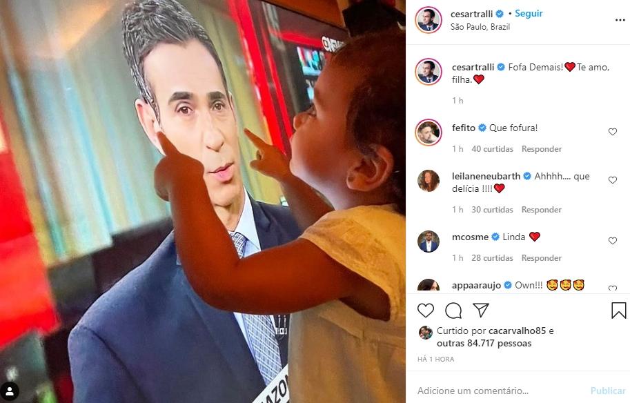 Cesar Tralli e filha Manuella foto reprodução Instagram