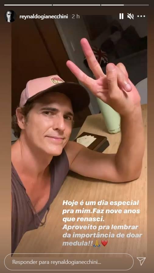 Após ser diagnosticado com câncer em 2011, Reynaldo Gianecchini celebra: ''V de vitória'' - Foto: Reprodução/Instagram