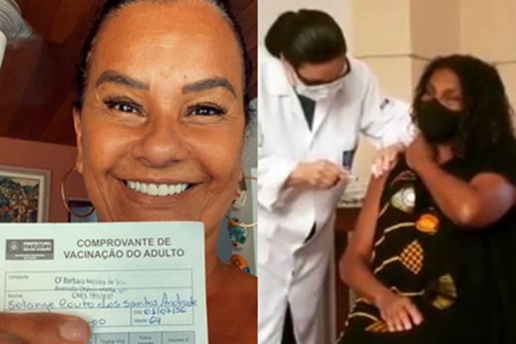 Solange Couto e Zezé Motta recebem primeiras doses da vacina contra a Covid-19