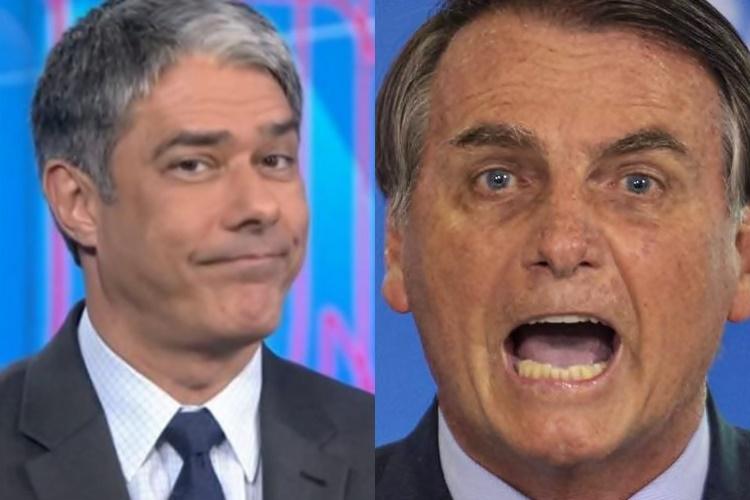 William Bonner e Jair Bolsonaro - Foto: Reprodução/Rede Globo/ Montagem Área VIP
