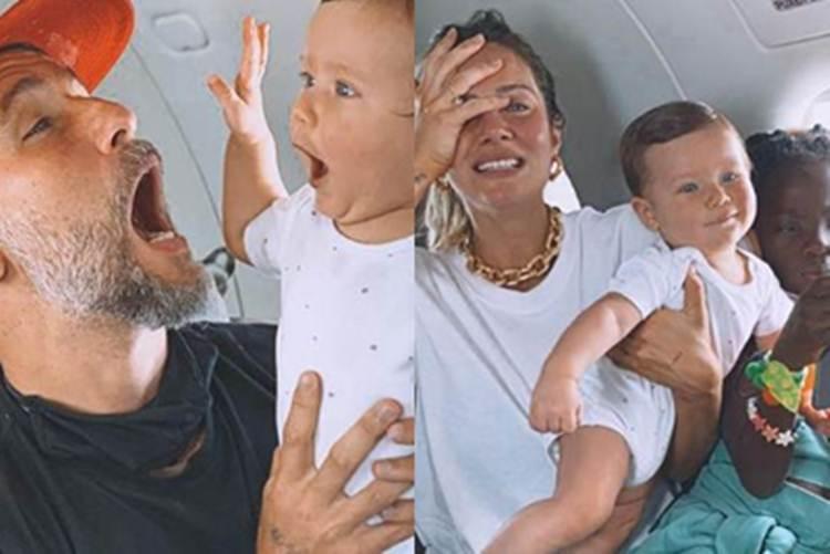 Bruno Gagliasso mostra 'desespero' da família em viagem com os filhos