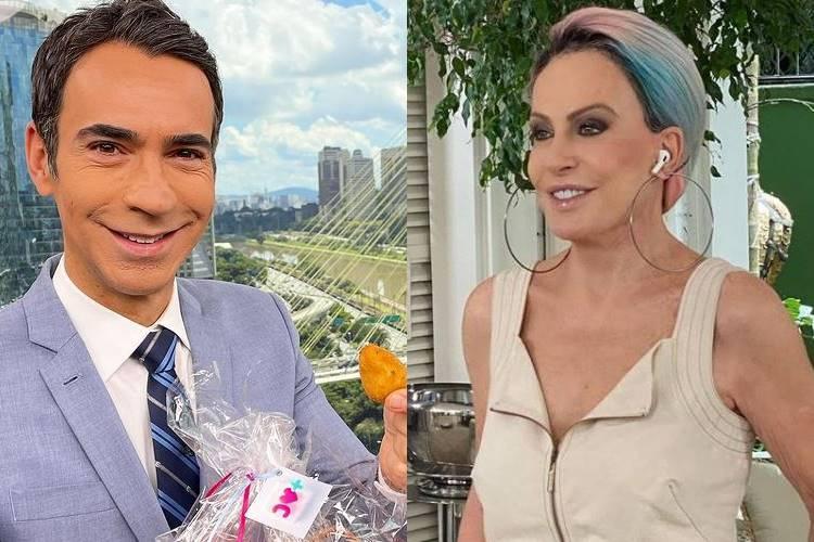 Cesar Tralli parabeniza Ana Maria Braga por retorno aos estúdios Globo, em São Paulo