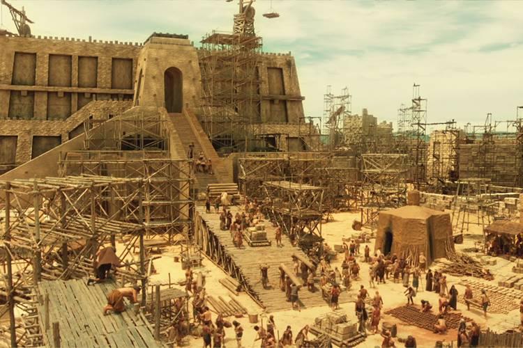 Gênesis - Homens trabalham na torre (Blad Meneghel e Vinícius Muhammad/ Record TV)