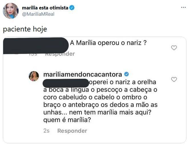 Marília Mendonça se irrita com fã, após o mesmo questionar sobre cirurgia plástica - Foto: Reprodução/ Twitter