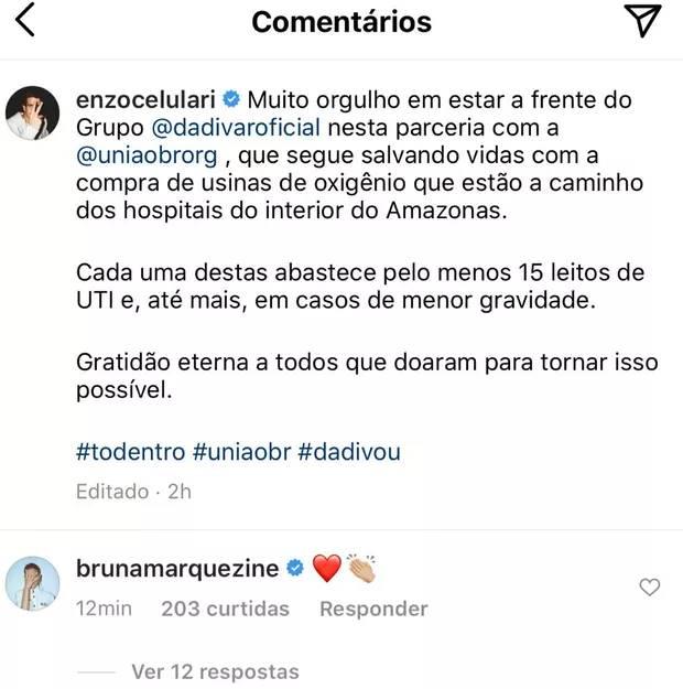 Após publicação, Bruna Marquezine e Enzo Celulari aumentam rumores de possível romance - Foto: Reprodução/Instagram