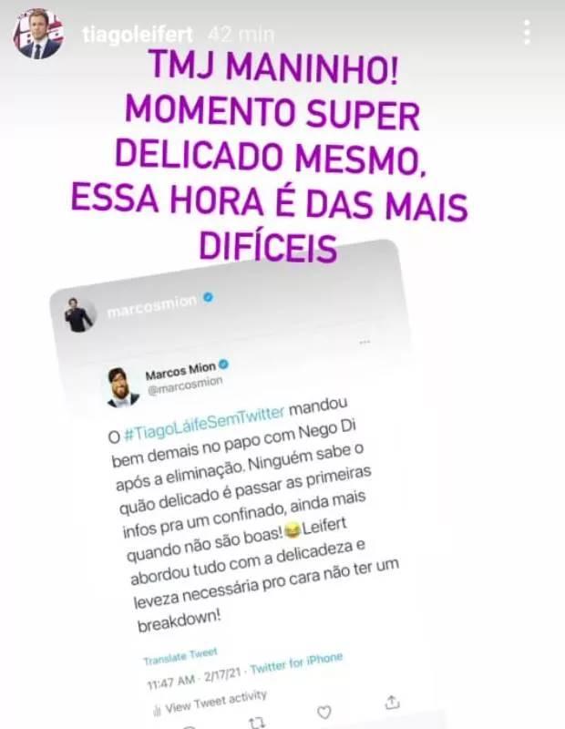 "BBB 21: Marcos Mion elogia Tiago Leifert, que agradece - ""Tamo junto"" - Foto: Reprodução/ Instagram"