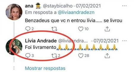 """BBB 21: Lívia Andrade comenta sobre não ter ido para o reality - """"Livramento"""" - Foto: Reprodução/ Twitter"""
