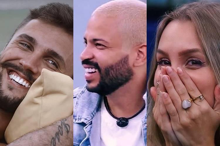 BBB21: Após eliminação falsa de Carla Diaz, Arthur e Projota ficam aliviados pelo público estar gostando da participação dos dois - Foto: Reprodução/ Rede Globo/ Montagem Área VIP