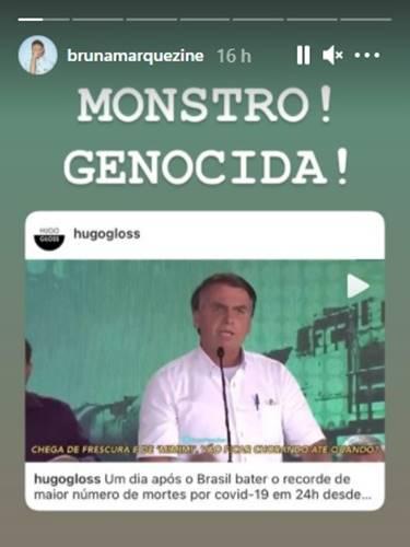 Bruna Marquezine detona presidente nas redes sociais: ''Monstro, desgraçado'' - Foto: Reprodução/ Instagram