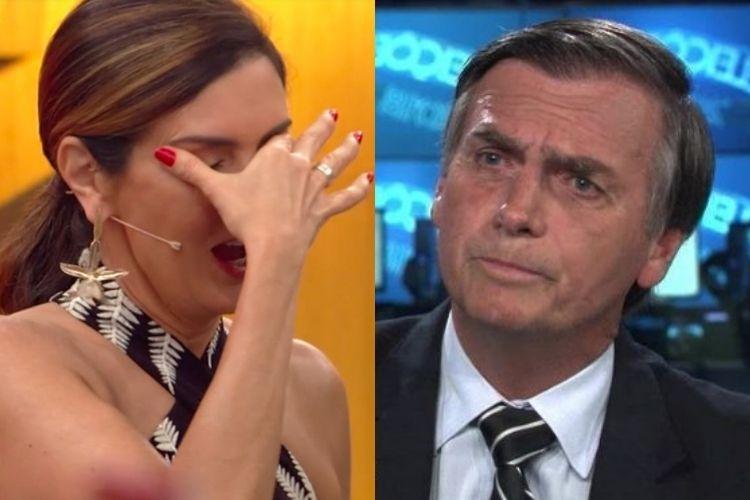 Fátima Bernardes e Jair Bolsonaro - Reprodução: TV Globo