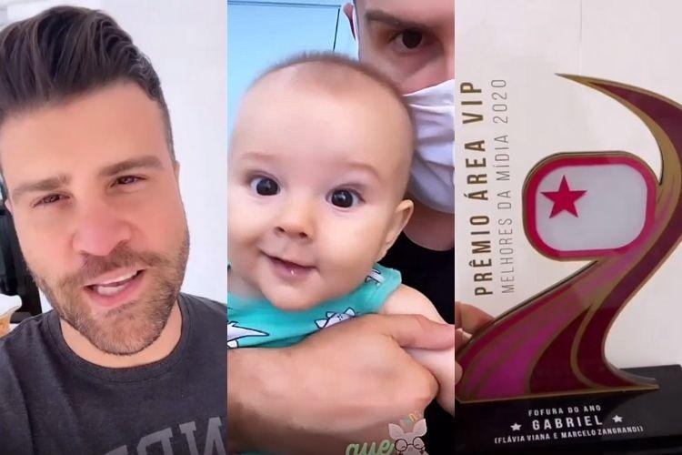 Marcelo Zangrandi, o filho vencedor e o troféu - Reprodução: Instagram
