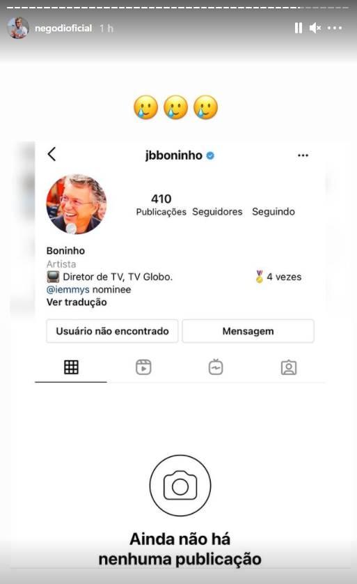BBB 21: Após acusar Globo de manipulação, Nego Di revela que foi bloqueado por Boninho nas redes sociais - Foto: Reprodução/ Instagram