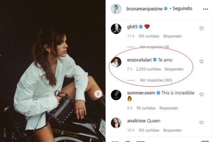 É real! Enzo Celulari se declara para Bruna Marquezine: ''Te amo'' - Foto: Reprodução/ Instagram