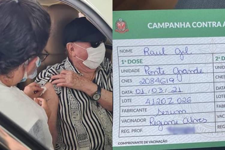 Aos 83 anos de idade, Raul Gil recebe primeira dose da vacina contra a Covid-19 - Foto: Divulgação/ SBT/ Montagem Área VIP