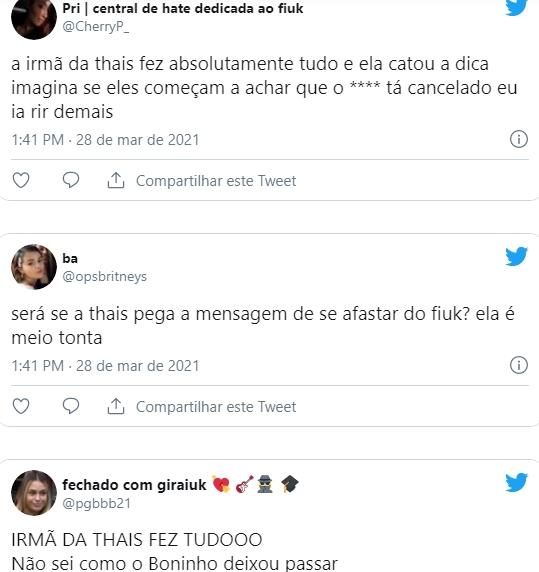 Thais comentários na web twitter