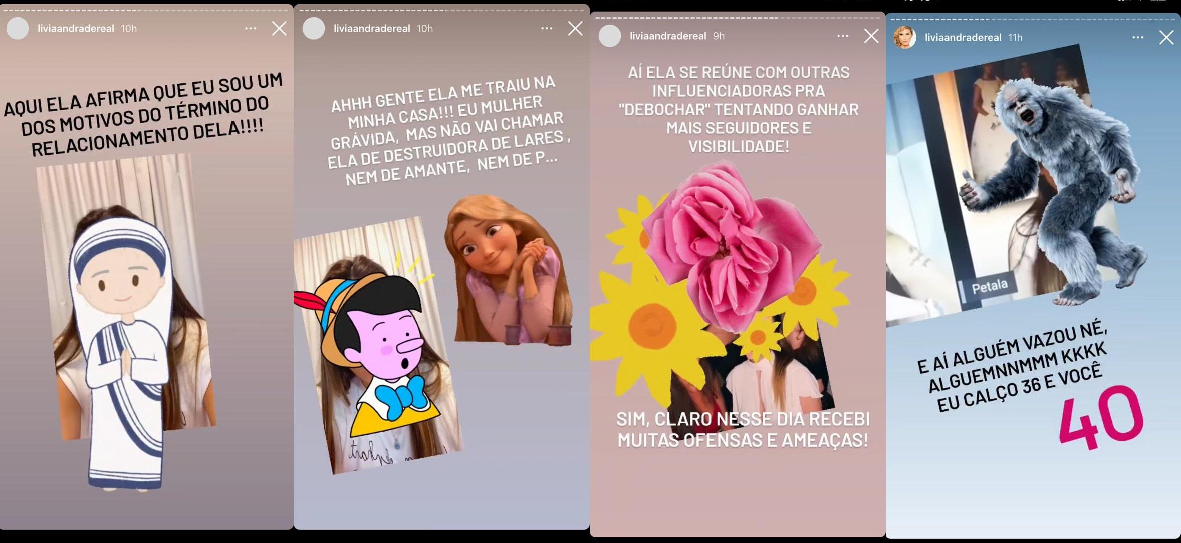 Imagem: Print de stories de Lívia Andrade compartilhando vídeos de Pétala Barreiros (Reprodução/Instagram)