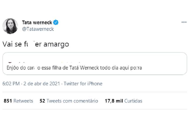 Imagem: Tatá Werneck responde, no Twitter, a internauta que criticou publicações diárias sobre Clara Maria, filha dela com o ator Rafa Vitti (Reprodução/Twitter)