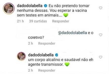 Comentários de Dado Dolabella/Instagram