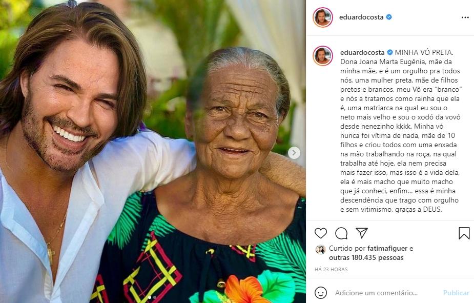 Eduardo Costa e sua avó Eugênia foto reprodução Instagram