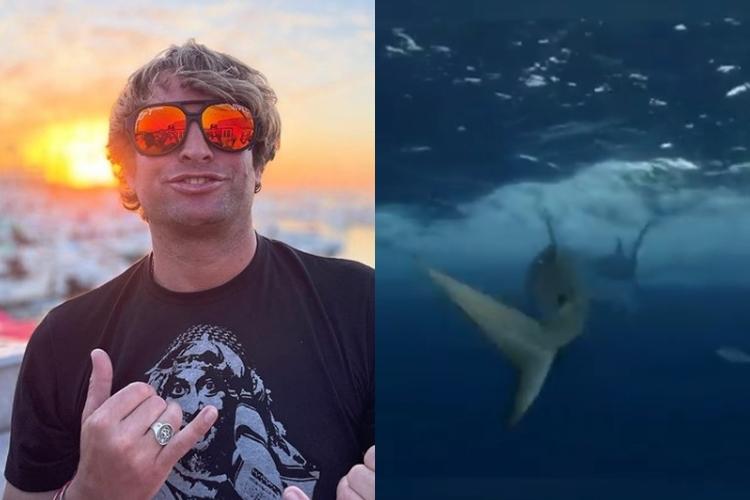 O ator Sean McInerney perde a mão em gravação com tubarões foto reprodução Youtube e montagem Area Vip